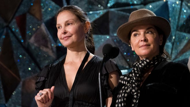 Ashley Judd, left, and Annabella Sciorra appear during rehearsals for the 90th Academy Awards in Los Angeles on Saturday, March 3.
