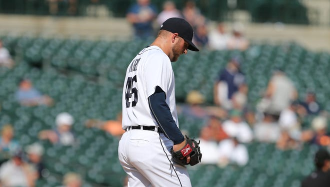 Tigers pitcher Ian Krol on the mound after Mariners shortstop Chris Taylor scores during the 12th inning of the Tigers' loss Thursday at Comerica Park.