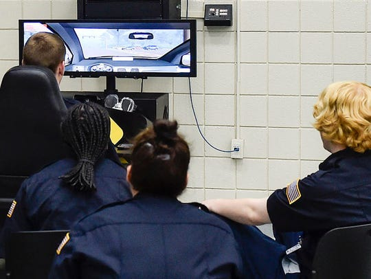 Tri-Rivers Career Center students watch each other