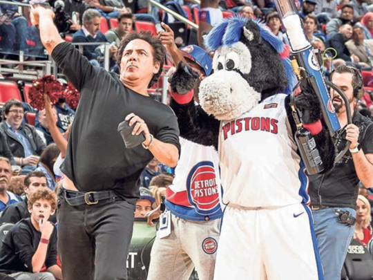 Pistons owner Tom Gores made rare visits to LCA, but when he did show up, he was all-in on the T-shirt toss.