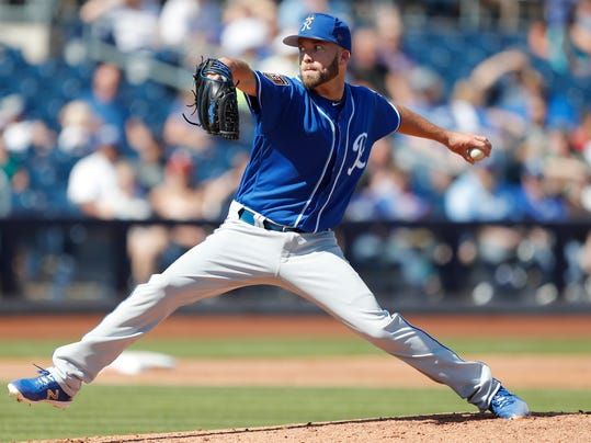 FILE - In this March 2, 2018, file photo, Kansas City Royals starting pitcher Danny Duffy throws during the second inning of a spring training baseball game against the San Diego Padres, in Peoria, Ariz. The Royals open the season at home against the Chicago White Sox, and left-hander Danny Duffy will be on the mound. (AP Photo/Charlie Neibergall, File)