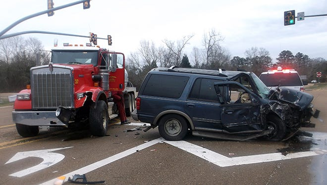 An 18-wheeler and SUV collided in Rankin County Friday morning