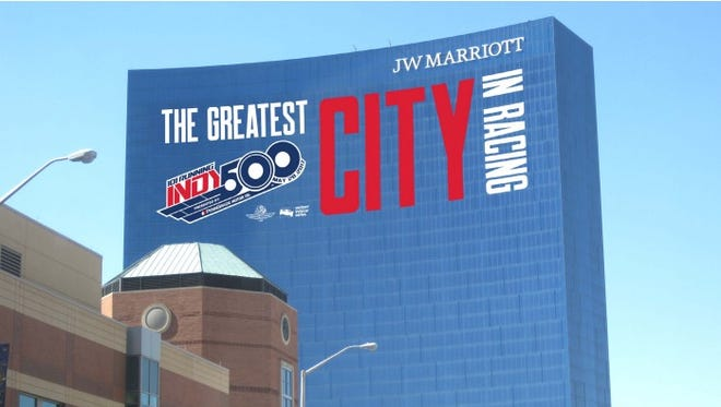 The JW Marriott in downtown Indianapolis will celebrate the 101st running of the Indianapolis 500 with a logo and message on the facade of the building.