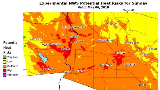 Heat risk forecast for south-central Arizona and southeast California according to the National Weather Service in Phoenix.