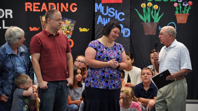 Charisse Humphreys reacts as she learns that she has been chosen to receive the 2017 Dorothy Huffman Award for Creative Teaching. Humphreys teaches third grade at West Foundation Elementary.