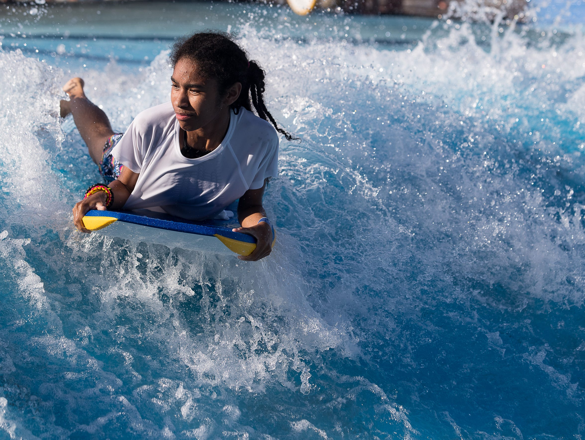 Elle Garcia, 14-years-old learns to surf at Schlitterbahn