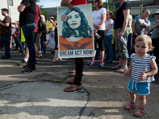 "Over 200 people attend the ""Rally to End Family Detention"", held to protest immigration laws that that led to the separation of children from their families.  The rally was organized by Cooper River Indivisible and held in Collingswood on Monday, June 25, 2018."