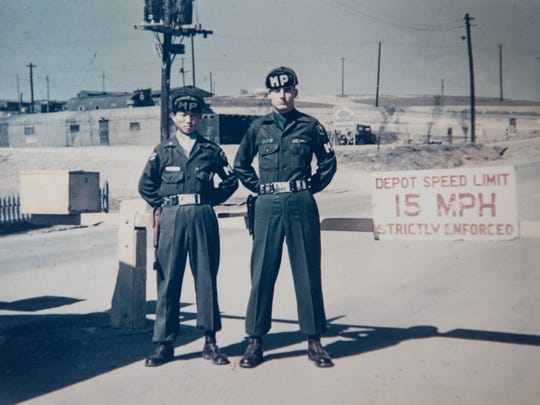 Jim Byrd, right, with a Korean MP in Incheon, South Korea in 1954.