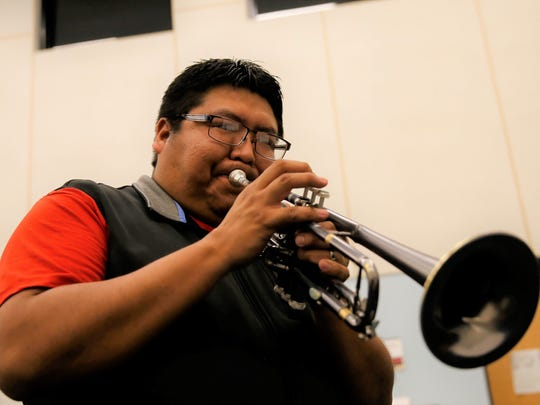 Delbert Anderson plays the trumpet during a Feb. 2 Funkified rehearsal at San Juan College.