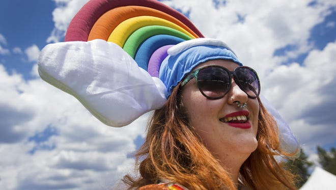 Viviane Seals of Flagstaff enjoys herself during Pride in the Pines in Flagstaff on Saturday.