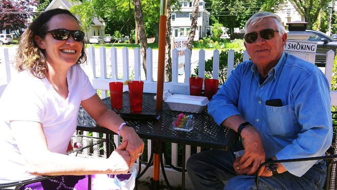 Rachel Manning and Greg Manning dine outdoors on Monday at Morse Tavern in Natick.