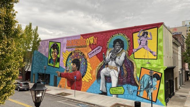 The completed James Brown mural.