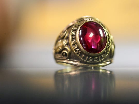 Doris Baskin of Anderson lost her 1964 Westside High School class ring, which John Gurley found with a metal detector 52 years later on the grounds of the old Anderson Country Club.