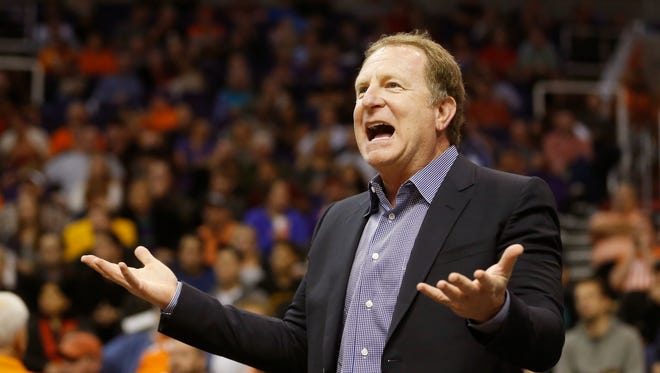 Phoenix Suns majority owner Robert Sarver disputes a call against the Indiana Pacers during the third quarter at US Airways Center in Phoenix, Ariz. December 2, 2014.