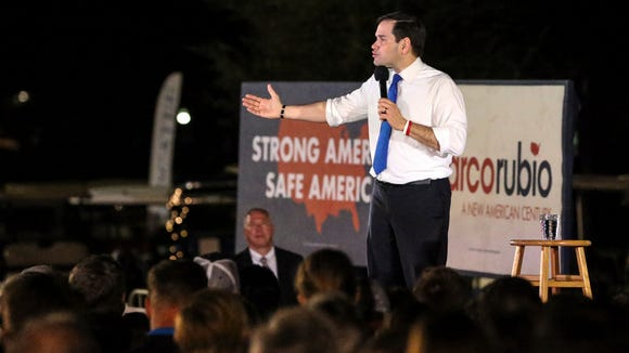 Sen. Marco Rubio, R-Fla., speaks at a campaign rally