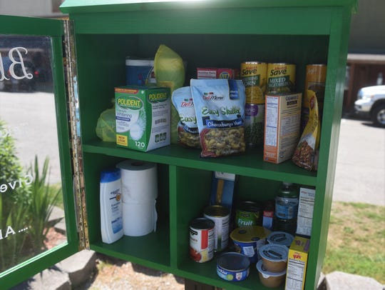 A look Tuesday inside Cotter's new blessing box shows