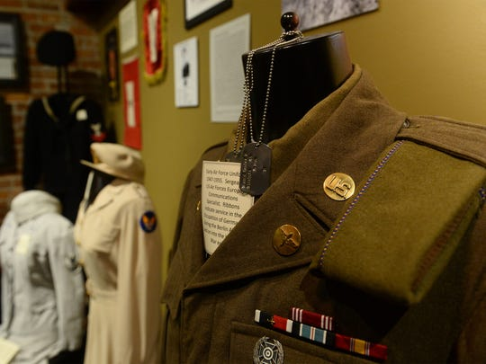 An Air Force uniform from the late 1940s is on display