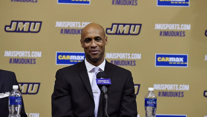 Louis Rowe speaks during a press conference in the Convocation Center at JMU on Tuesday, April 5.