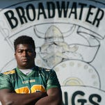 Dontae Weatherly, one of nine Broadwater Academy seniors, was a leader on offense and defense this season for the Vikings. Weatherly averaged two sacks and 10.7 tackles per game this season.