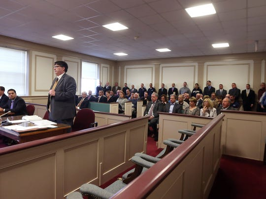 Morris County Assistant Prosecutor John McNamara Jr. makes an argument for the State in front of a courtroom of supporters of former Mount Olive Officer Ryan Eastridge whose attorney, Lee Vartan, argued that Eastridge should be allowed to withdraw his guilty plea, given in 2014, to obstruction of justice.   February 23, 2017, Morristown, NJ.