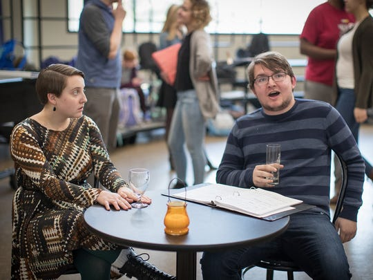 """Music education majors Aly Evans and Stephen Calgaro rehearse a scene from """"Speed Dating Tonight!,"""" a UW-Stevens Point Music Department opera performance set for April 7 and 8."""