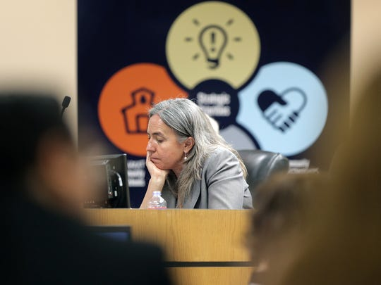 EPISD trustee Susie Byrd sits dejected after making a motion to terminate Superintendent Juan Cabrera for immorality during a meeting Feb. 8. The motion was not voted on after the board approved Cabrera's contract extension.