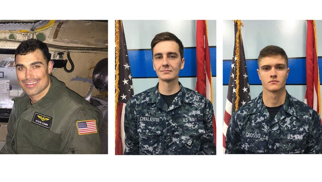 The U.S. Navy identified three sailors lost at sea after their cargo plane crashed in the Philipine Sea on Nov. 22, 2017. From left to right in this combination photo are Lt. Steven Combs; Airman Matthew Chialastri, and Airman Apprentice Bryan Grosso.