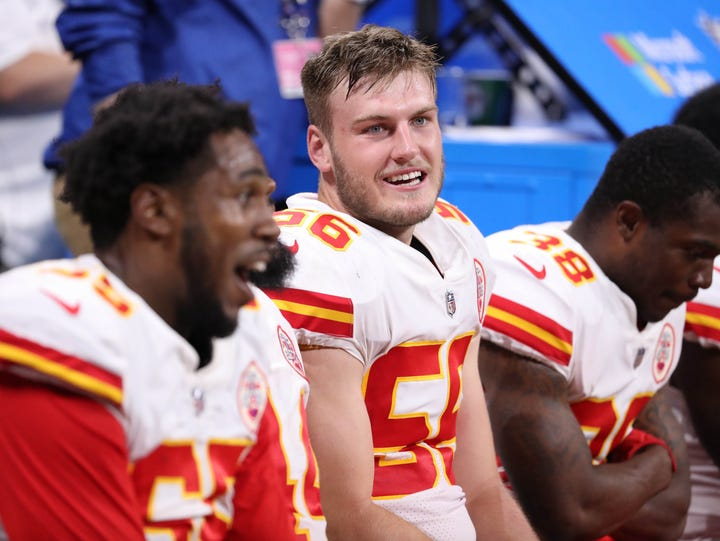 Former Iowa linebacker was all smiles after his pick-six