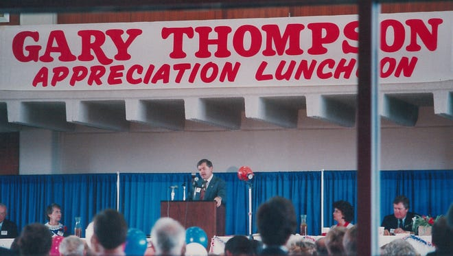 Gary Thompson speaks at a luncheon in his honor in 1981.