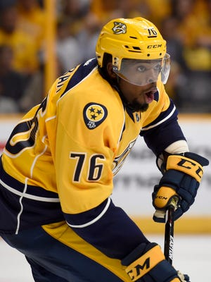 Predators defenseman P.K. Subban (76) moves the puck in the second period against the Blackhawks on Friday.