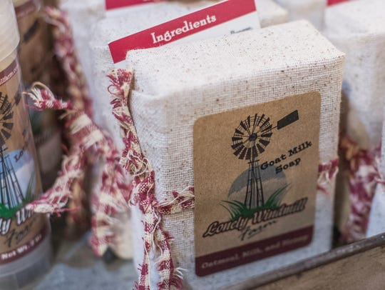 A bar of goat milk soap from Lonely Windmill Farm is