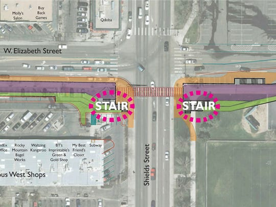 Rendering of a conceptual plan for an underpass proposed at the intersection of Shields and Elizabeth streets.