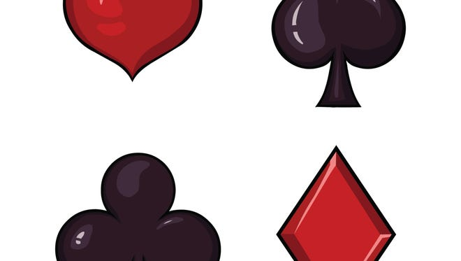 Vector Set of Cartoon  Playing Cards Suits Signs