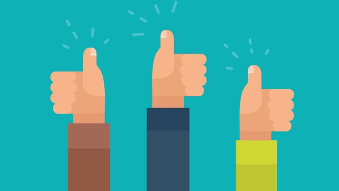Vector Illustration of three arms, giving a thumbs-up.