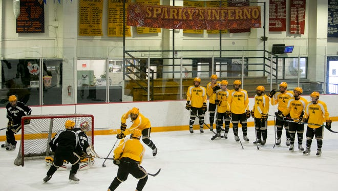 The Arizona State club hockey team practices at Oceanside Ice Arena in Tempe on Nov. 13, 2012.