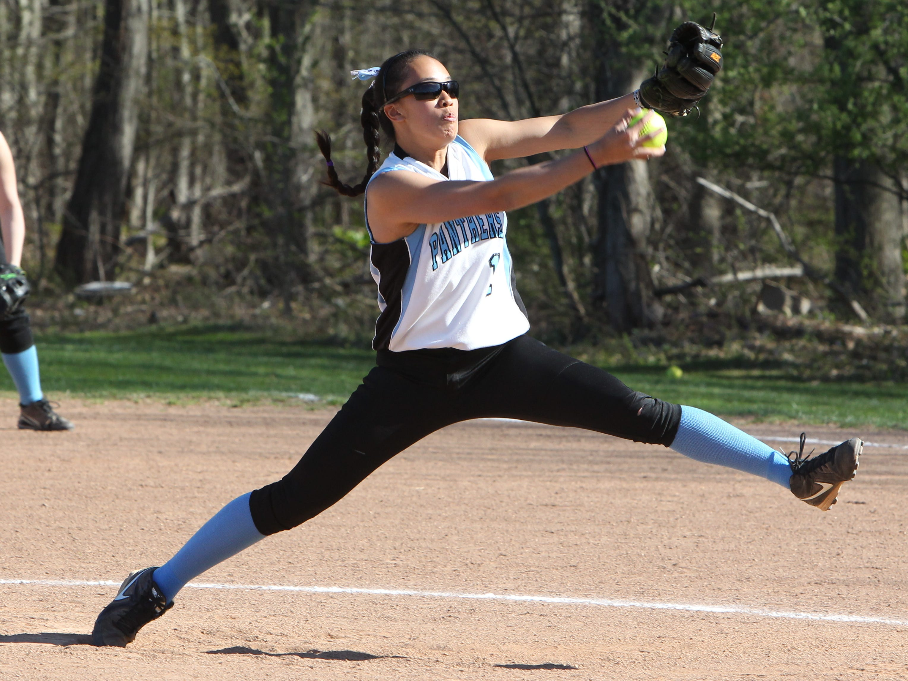 Rye Neck pitcher Diana King winds up during a game with Ardsley at Rye Neck April 28, 2015. Ardsley won 1-0.