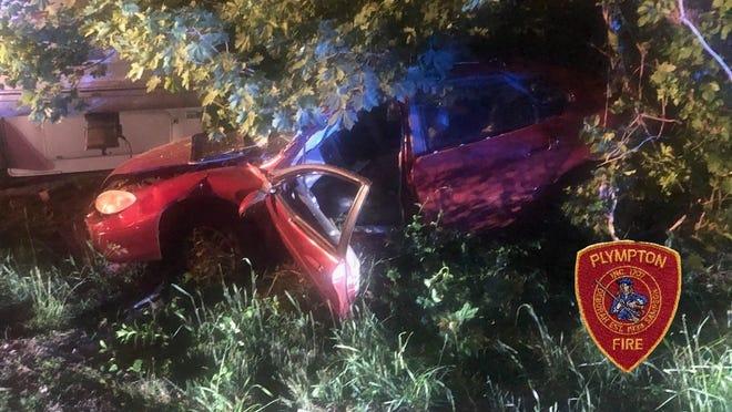 A Randolph man was hospitalized after a Plympton crash.