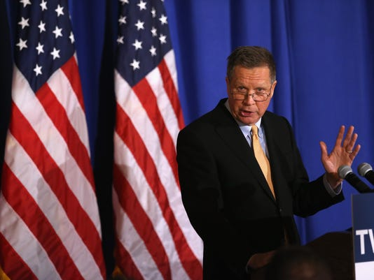 Republican Presidential Candidate John Kasich Delivers Campaign Speech In New York