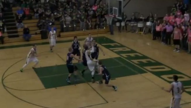 Screen capture from Thursday night's game showing the game-winning shot.