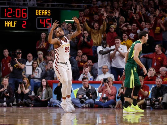 Iowa State senior Jeff Beverly reacts after hitting a field goal against Baylor at Hilton Coliseum in Ames on Saturday, Jan. 13, 2018.