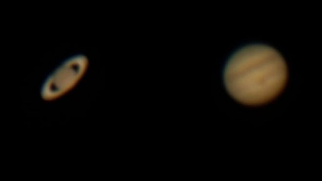 Pictures of Saturn and Jupiter, taken July 21, 2020, are placed closer together than they appeared in the sky.