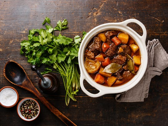 """Traditional Boeuf Bourguignon or beef stew is one of Julia Child's best known dishes from her classic cookbook """"Mastering the Art of French Cooking."""""""