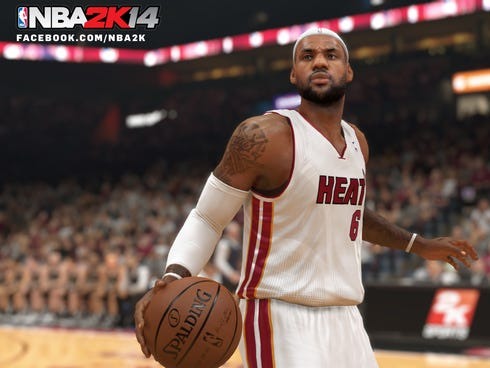 Miami Heat star LeBron James in a scene from 'NBA 2K14' for PS4, Xbox One.