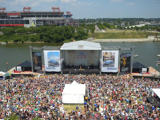 A view of Cam performing at Riverfront stage from the
