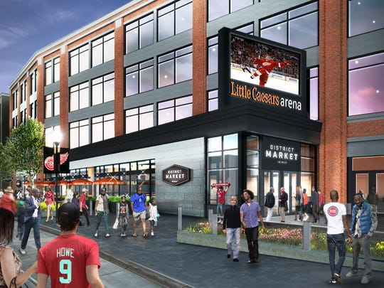 Rendering of District Market at Little Caesars Arena. the market will be open to public including nonevent days.