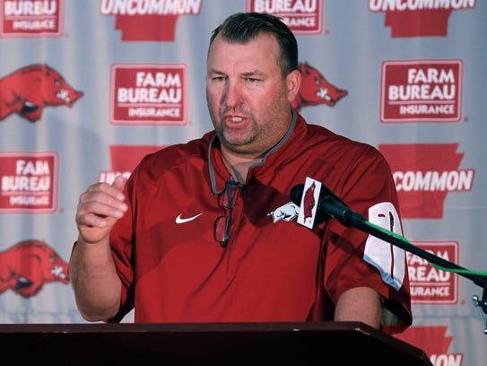 Arkansas coach Bret Bielema considers a recruit's behavior