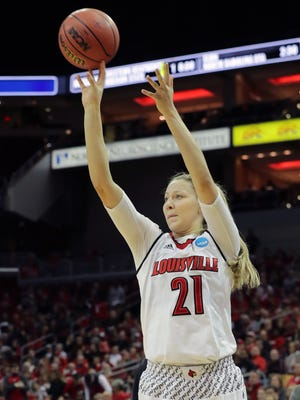 Louisville's Kylee Shook knocks down a 3-pointer against Boise State in the first round of the NCAA Tournament at the KFC Yum Center on Friday, March 16, 2018.