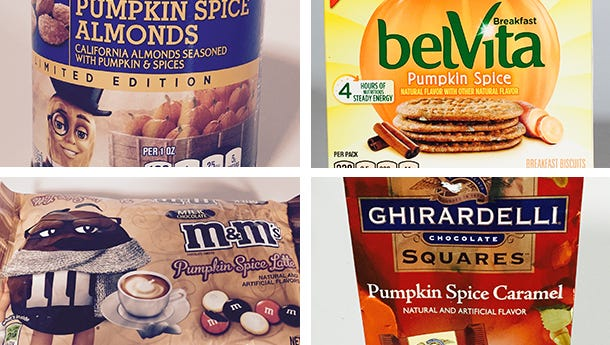 Clockwise from top left, Planters, belVita, Ghirardelli and M&Ms have all joined the pumpkin spice phenomenon.