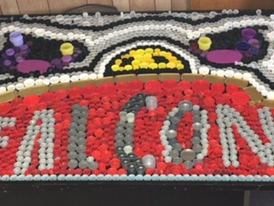 Students at Santa Rita Elementary School used bottle caps to create art.