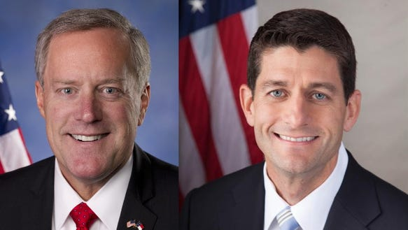 U.S. Rep. Mark Meadows, left, and House Speaker Paul
